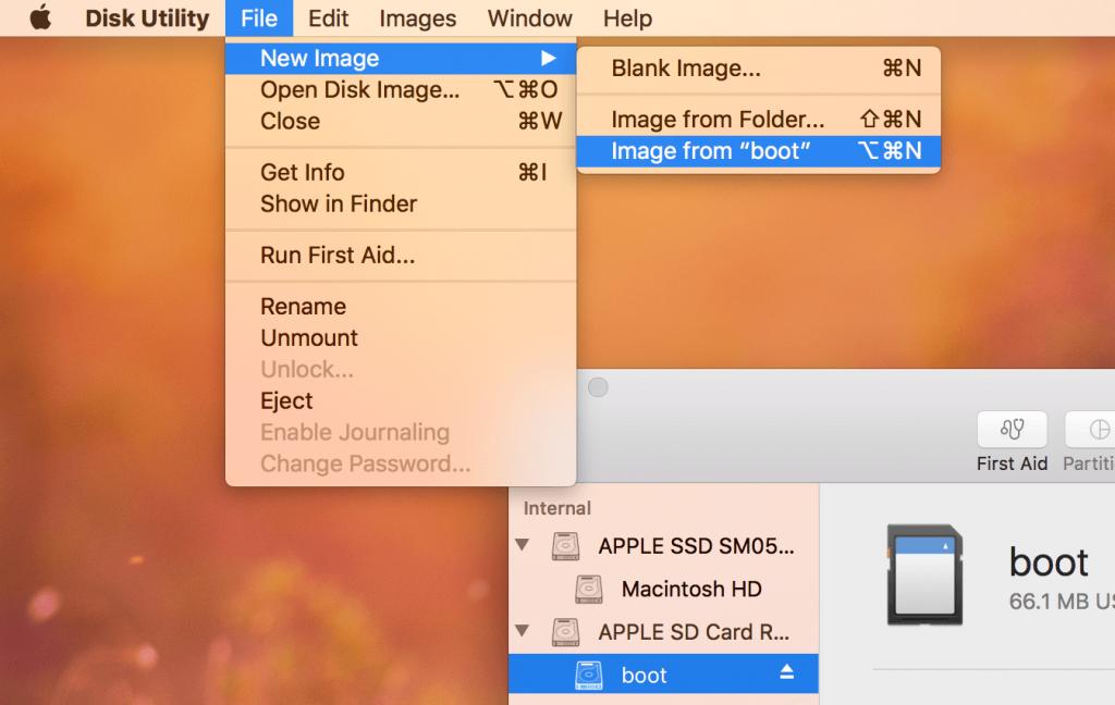 Disk Utility on Mac OS