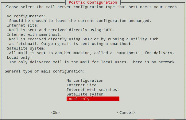 Postfix Configuration, Local Only